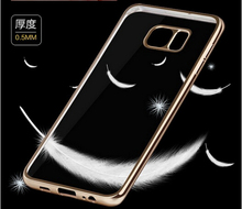 Hot ultra thin gold plating crystal clear tpu case for samsung galaxy note 5 transprent tpu soft cover case