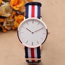 Custom brand watch wholesale, leather and nylon strap fashion man watch japan movt quartz watch