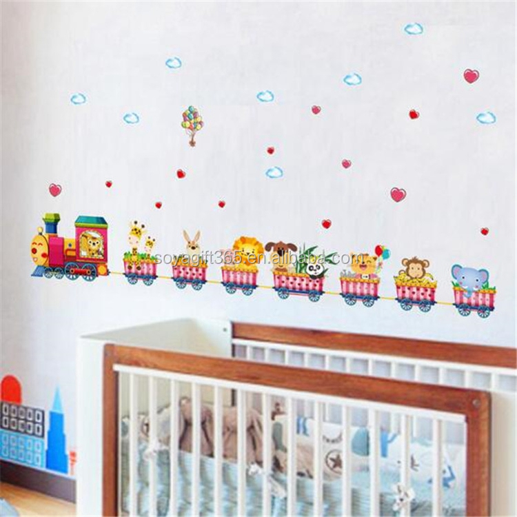 Animals Train Wall Stickers Nursery Decor Baby Kids Art Mural Removable Sticker