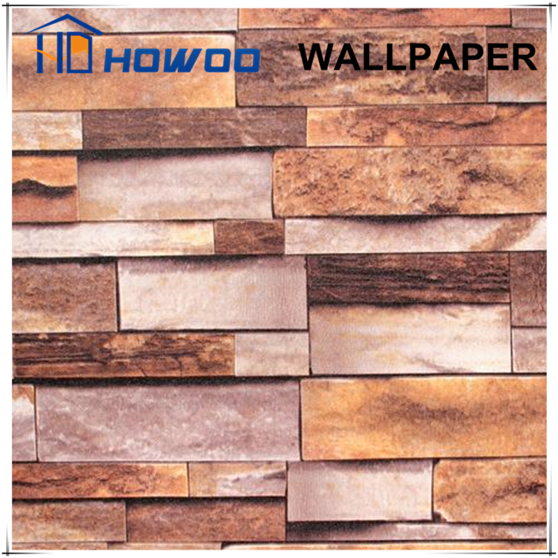 Howoo red and black designer textured brick wallpaper
