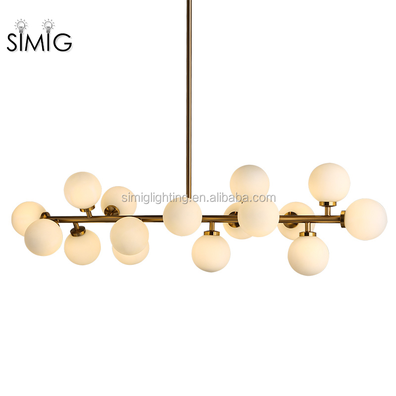 Simig factory modern DNA brass glass 16 hanging glass ball LED G9 chandelier ceiling fixture pendant light