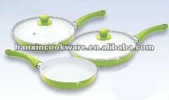 ceramic fry pan, with TPR handle, logo available