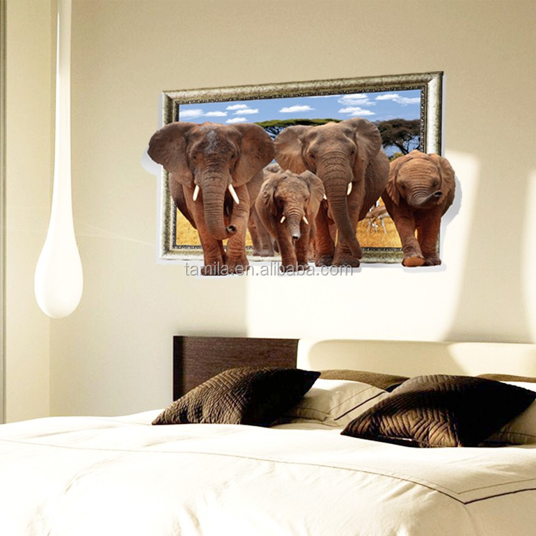 3D Elephant wall stickers 3D Fake Window Decals DIY Removable Cartoon Wall decal
