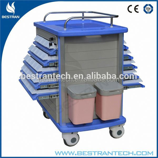 BT-MY002 hospital delivery medicine carts, medical emergency trolley with silent wheels