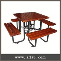 Arlau Furniture Bistro Sets,Table And Chair For Coffee Shop,Outdoor Round Wooden Table And Bench