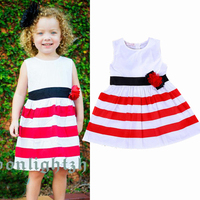 2015 latest fashion Red/White stripe appliqued baby girls summer dress designs children boutique clothing wholesale clothes