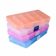 Plastic Jewelry Organizer (4 pack) Jewelry Box (15 grids) with Movable Dividers Earring Storage Containers