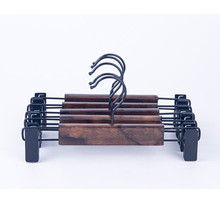 Wholesale cheap luxury wooden pant hanger with clips