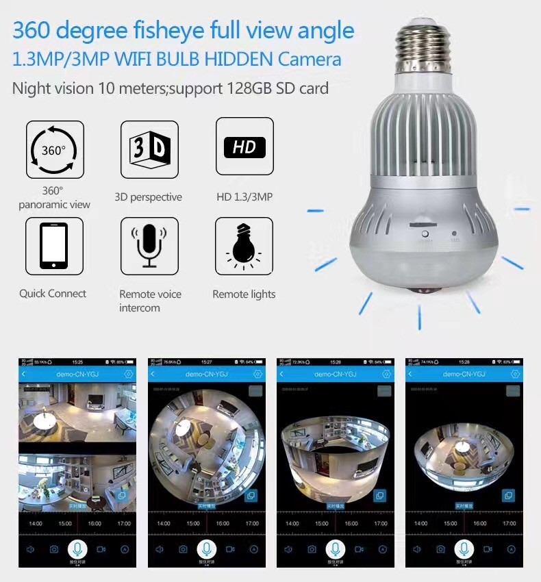 View Ip Camera Panoramic Fisheye 360 Hidden bulb wifi Camera