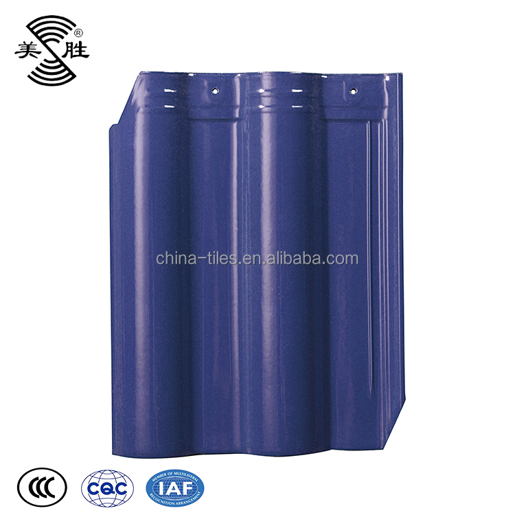European style building material interlocking ceramic glazed cobalt blue clay roof tiles