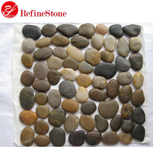 flat river stone mosaic floor tiles factory, round pattern river pebble