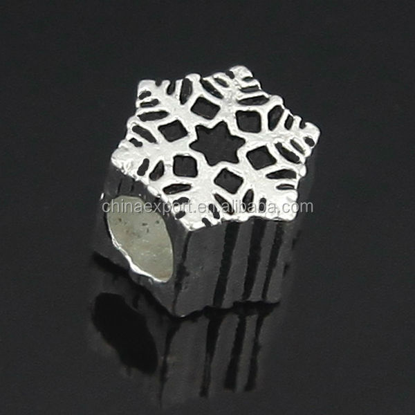 Zinc Alloy Snowflake Large Hole Metal European Beads for Jewelry Making