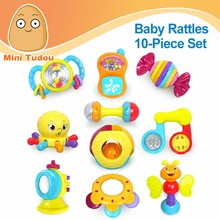 Minitudou Baby Toys 10PCS Animal Hand Bells Newbron Teether Toy Colorful Baby Rattle Plastic Mobile Musical Rattles