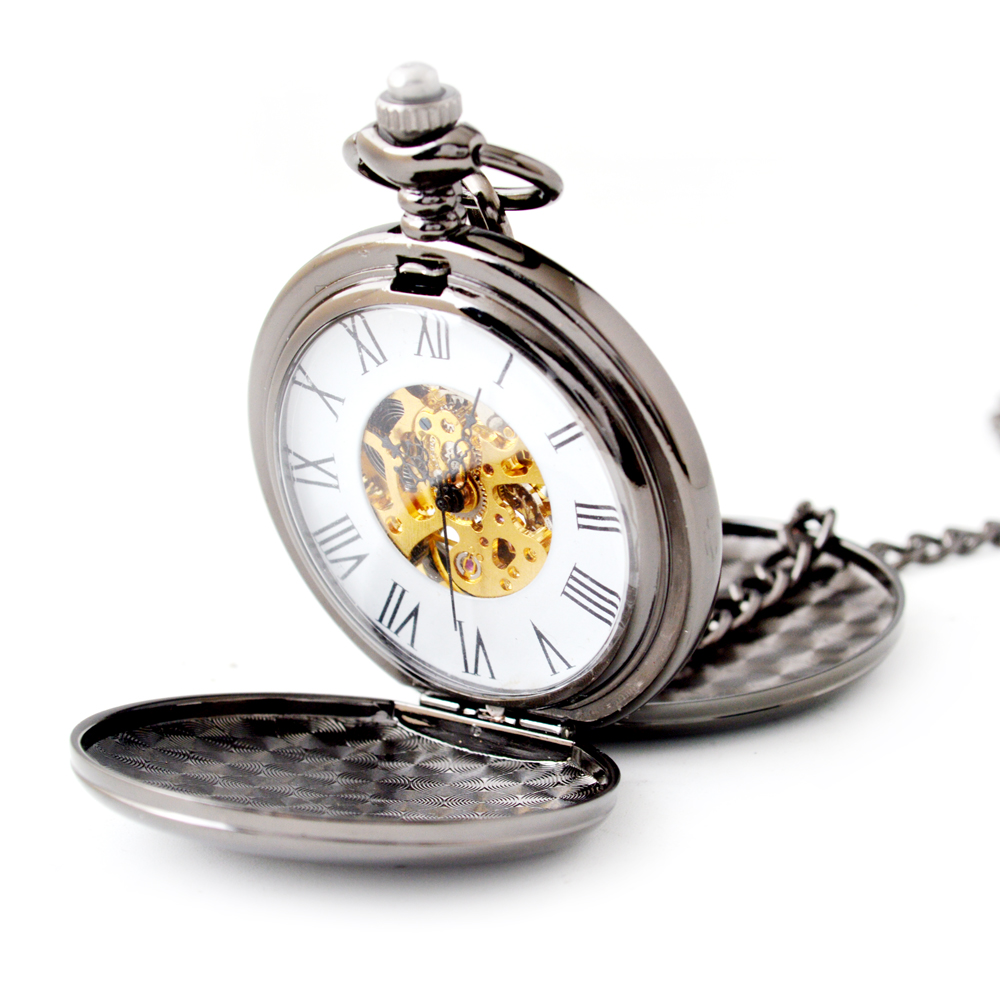 The smooth surface double open mechanical pocket watch