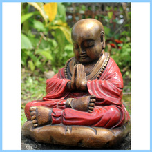 hand painted red resin shaolin monk decoration buddha statue