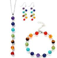 Fashion 6mm Round Beads Seven kinds of Natural Stone necklace 7 Chakra Drop Earrings Yoga Reiki Healing Stone