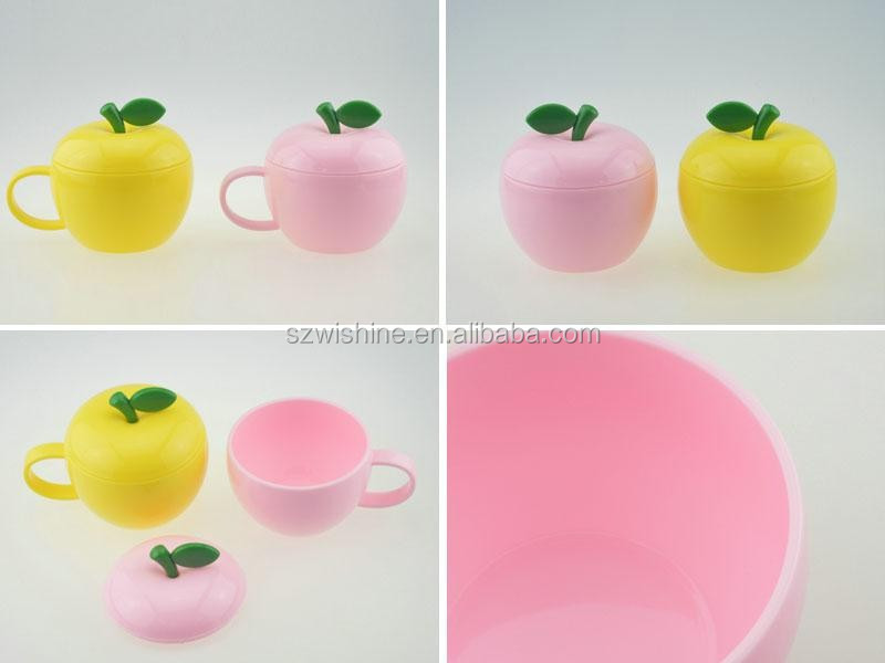 fashon apple shape plastic coffee cup with lid 2pcs set