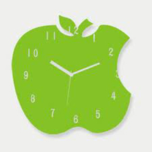 Customized acrylic modren decorative apple shaped wall digital clock wholesale