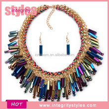 Yiwu Jewelry Factory Price Fancy Colorful Collar Necklace Set