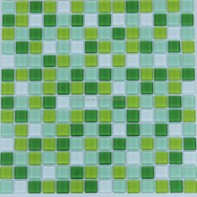 China factory direct green colored crystal glass mosaic 20x20mm