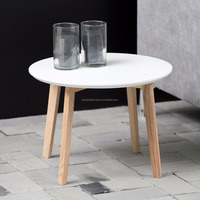 scandinavian round solid pine wood coffee table with white MDF top