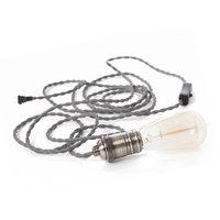 Copper E27 Switched Light Bulb Lampholder Vintage Lamp Holder - Rose Golden fabric cable set with plug