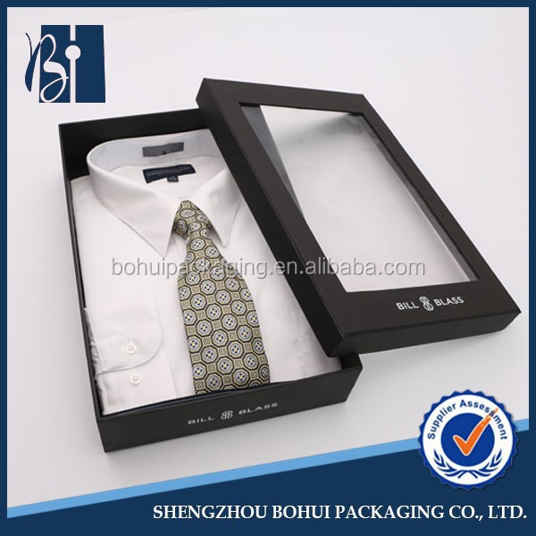 Black Cardboard Shirt Box With Clear Plastic Lid Buy