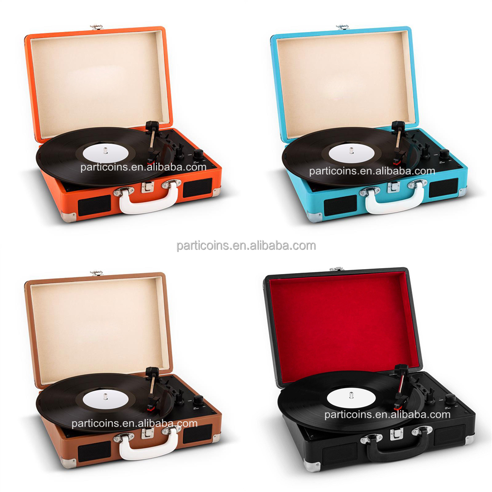 2017 portable suitcase pu turntable vinyl record player turntable with bluetooth PTT310BL