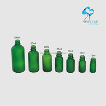 frosted green glass 5ml 10ml 15ml 20ml 30ml 50ml 100ml bamboo dropper cosmetic bottle