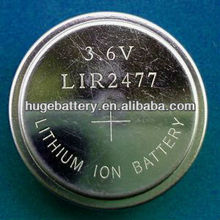Li-ion 3.6V Rechargeable Batteries LIR2477 with tap/pin