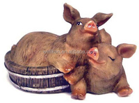 polystone pig statue,resin baby pig figures,polyresin funny pig figurines