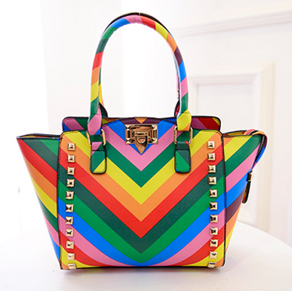 2016 Fashional and good quality rainbow color ladies leather handbags fashion elegance ladies handbag