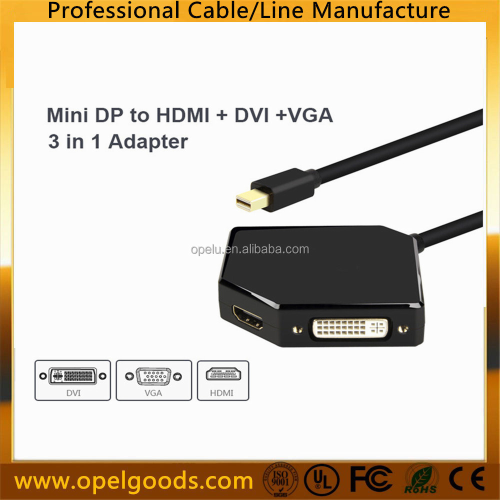 Factory 3 in 1 DisplayPort DP Male To DVI HDMI VGA Female Adapter Cable