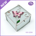New Product HX-6394 Square Butterfly Acrylic Jewelry Box With 3 Drawers
