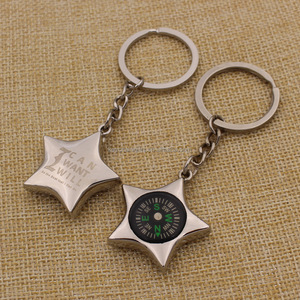 Promotion Custom Metal Star Shaped Compass Keychain