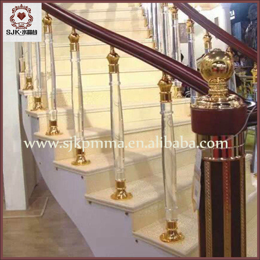 Fancy Crystal Glass Stair Handrail / Clear Acrylic Stair Pillars For Villa - Buy Glass Stair ...