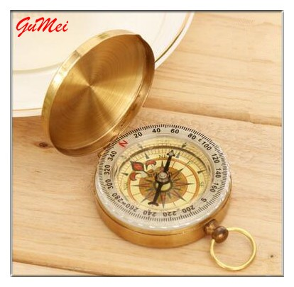 Good Sell Classic Brass Pocket Watch Style Compass Foldable Retro Compass Belt Cover G50 Copper Compass