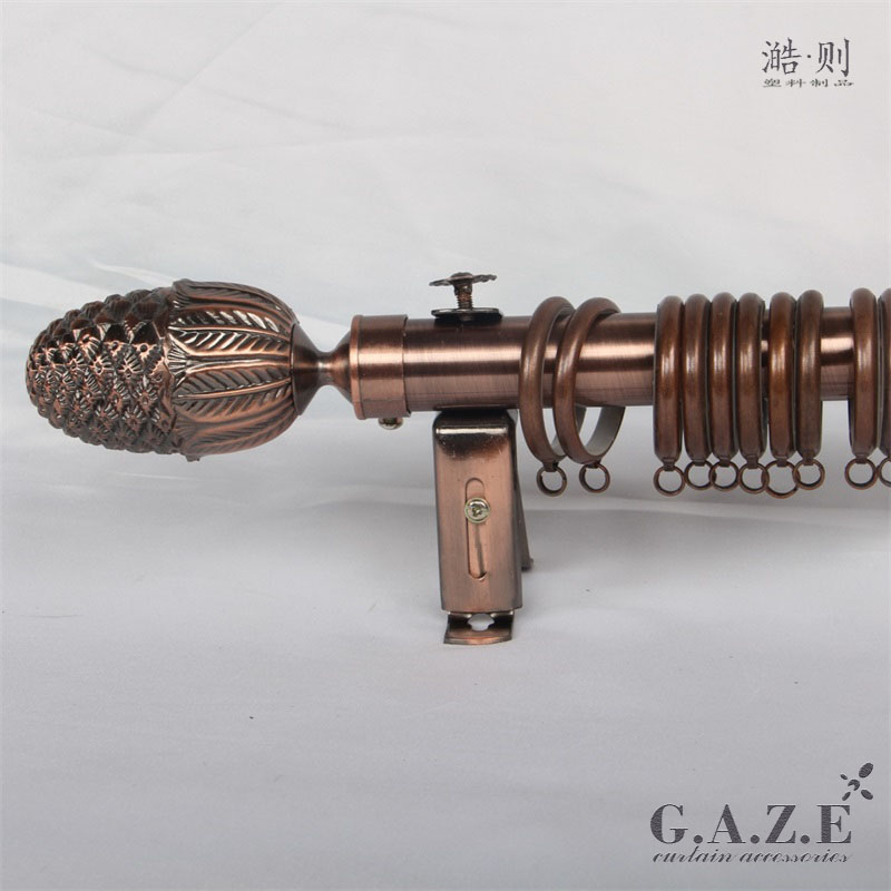 Copper color 28mm Wall Single Bracket Roman rod accessories units curtain pole sets with rings