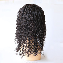 Wholesale cheap 150% density virgin indian deep curly hair human hair lace front wig