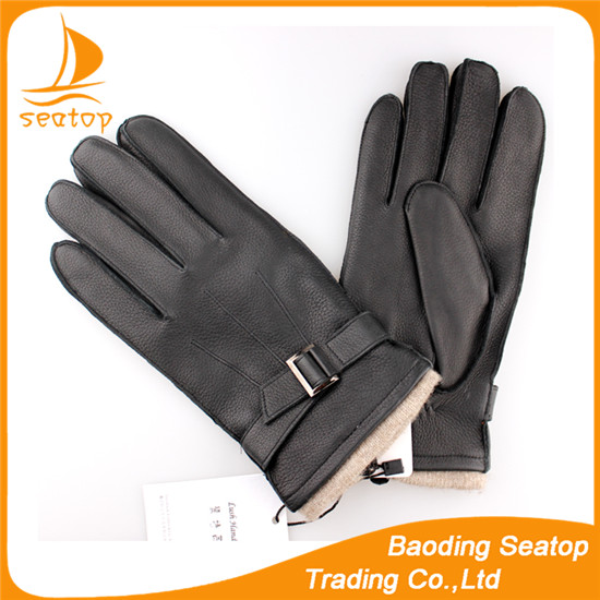 Men's keeping warm winter manufacture made deerskin leather gloves