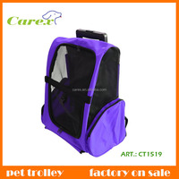 Purple Convenient Fold And Carry Cat and Folding Dog Trolley Bag Pet Travel Bag