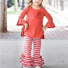 2017 new design kids clothing soft cotton trousers ruffle wholesale orange children baby pants for girl