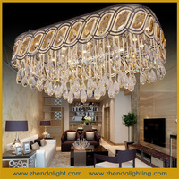 rectangle European classical Crystal Ceiling Light with cognac crystal beads D089/29