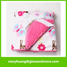 Hot selling good quality warm printing new born baby blanket