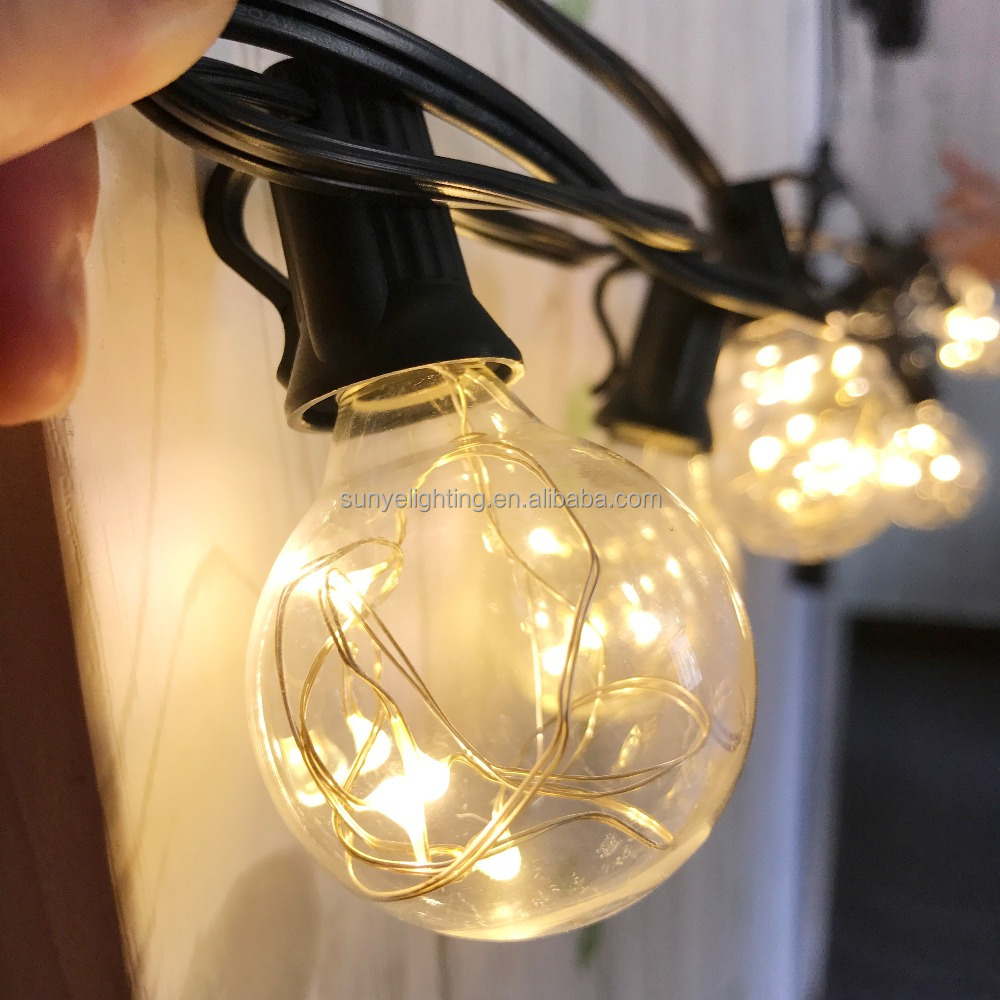 25Ft G40 Globe String Lights, UL listed Backyard Patio Lights, Hanging Indoor/Outdoor String Light for Party