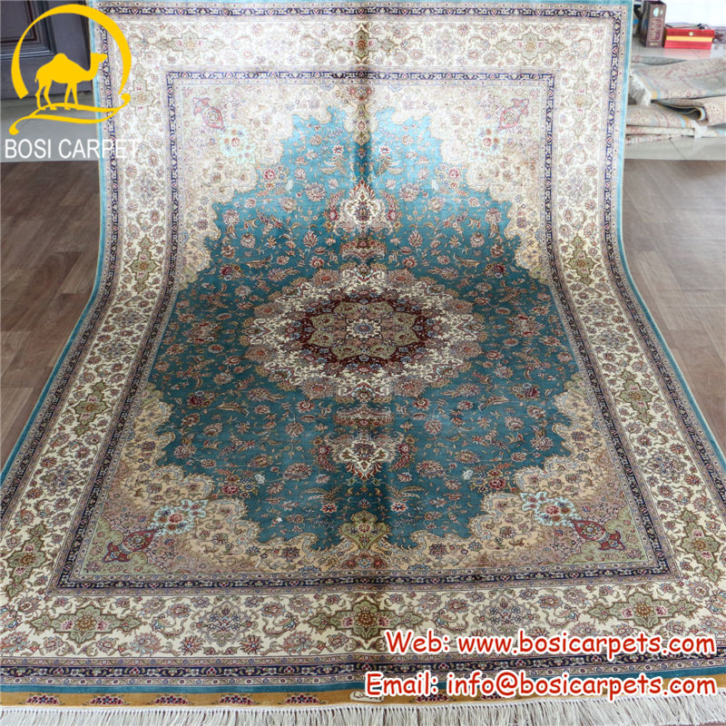 5.5'x8' Fine light blue pakistan persian pure silk hand knotted carpets