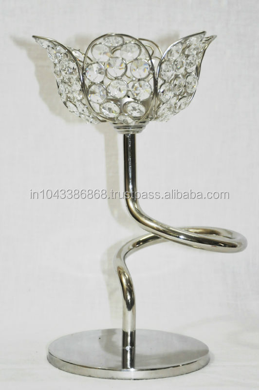 Indian Traditional Designed Unique Flower Shaped Crystal Candle Holder Home Decor