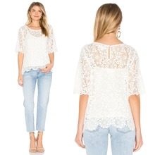 cutting stitching blouse designs layered lace top for women 2016 blouse
