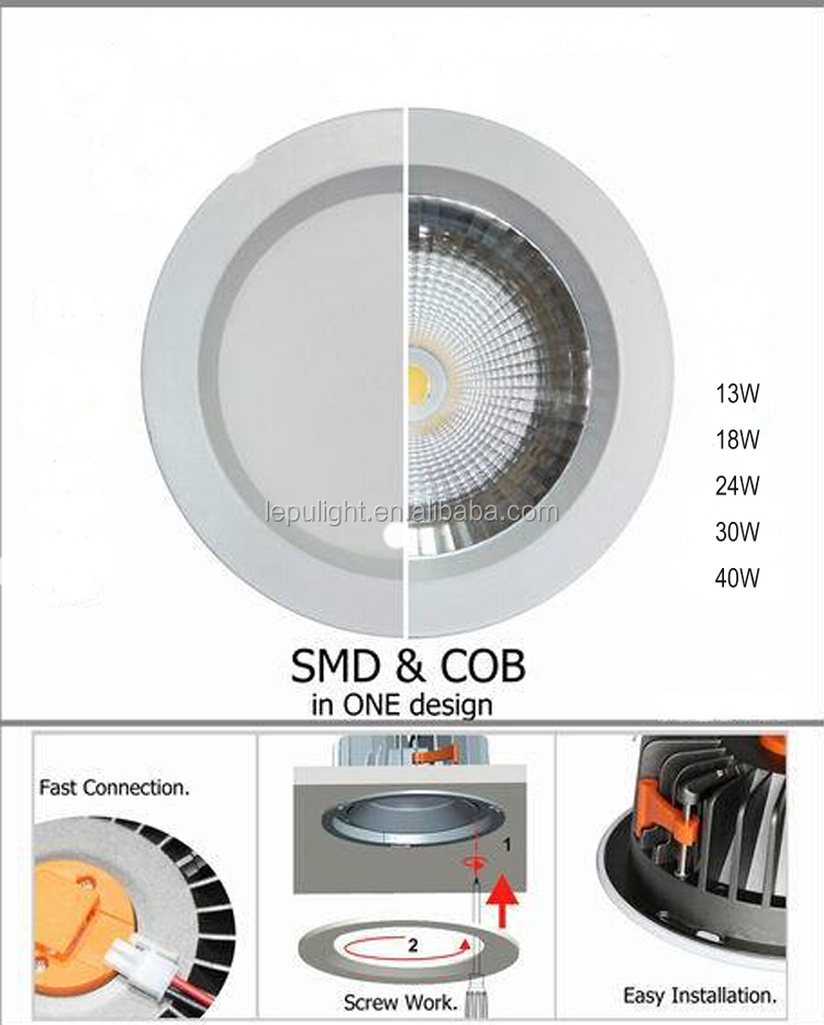 Max power 30w 40w cob smd dimmable led downlight 13w with sz factory price CE ROHS certification