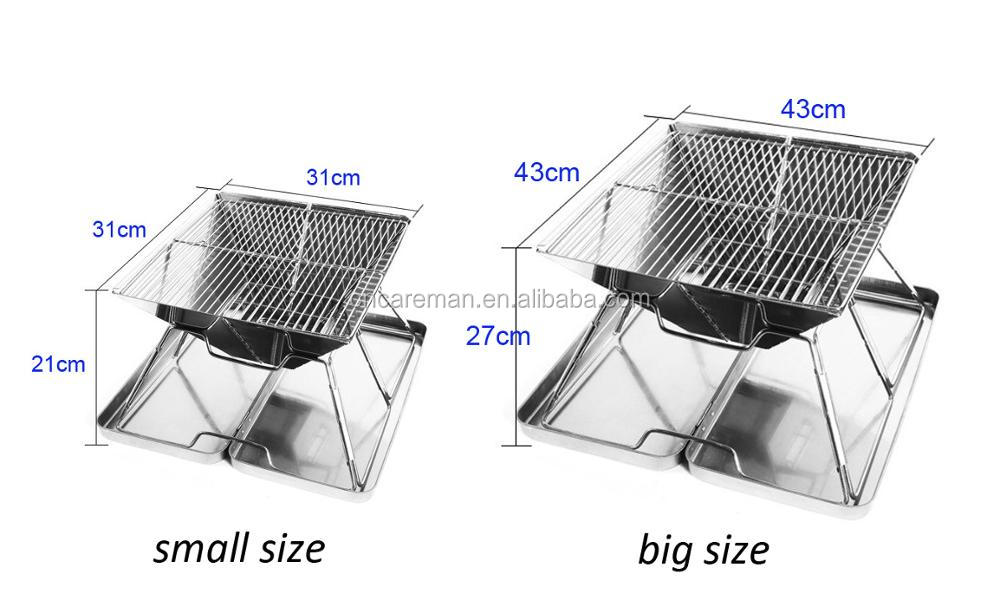 Large Size Quick Assembled Stainless Steel BBQ Grill, Folding Barbecue/Fire Pit with Protection Box & Carry Bag